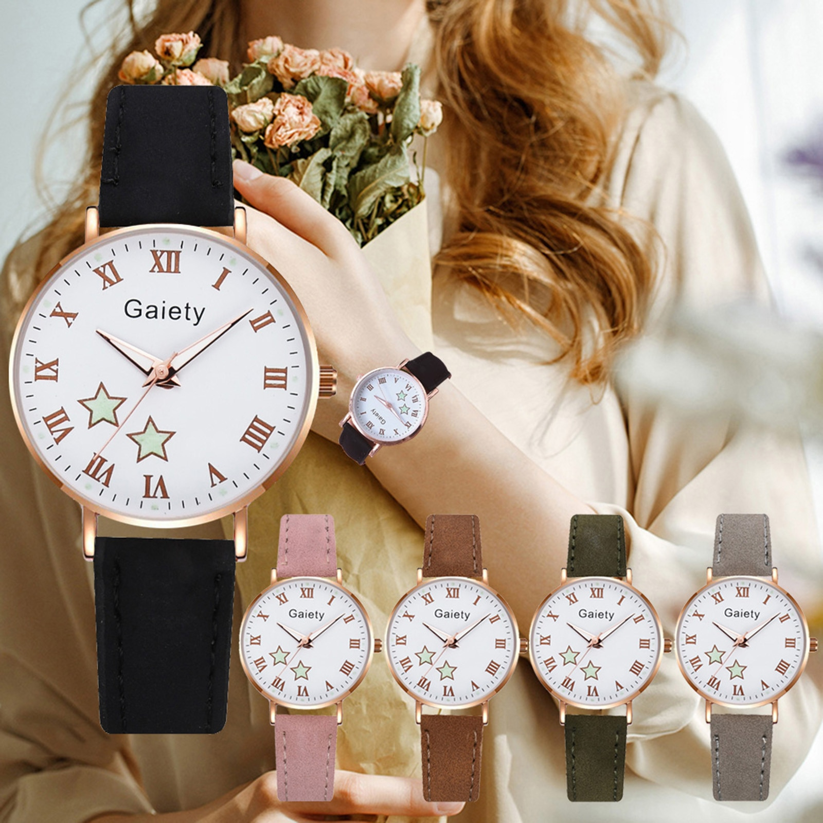 Lovely five pointed star printed dial Woman watch Luxury Temperament Ladies Belt Watch Analog Lumino