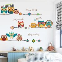 cartoon happy owl family wall stickers for kids room baby bedroom wall decoration living room home decor sticker self adhesive