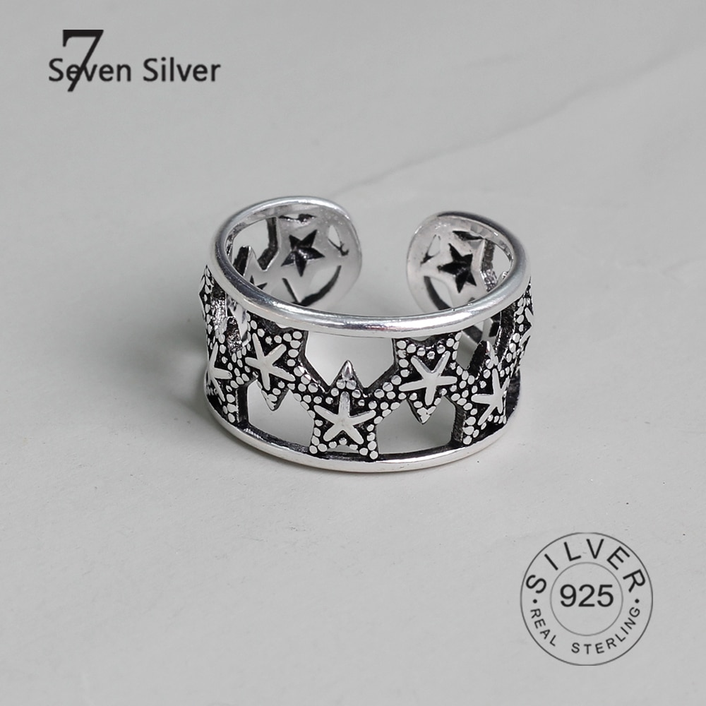 mytys black silver two tone rings for women fashion party leaf hollow out girls rings gift wholesale drop shipping r1985 925 sterling silver rings for women stars hollow out vintage Fashion Female Trendy Resizable Opening Rings
