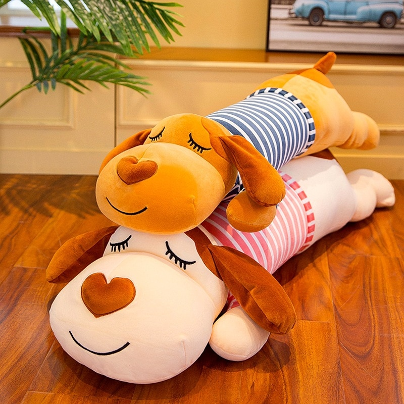 Simanfei lindo perro almohada suave peluche muñecas cojines decorativos para camas abrazo viaje almohada larga respaldo Animal cuerpo almohada