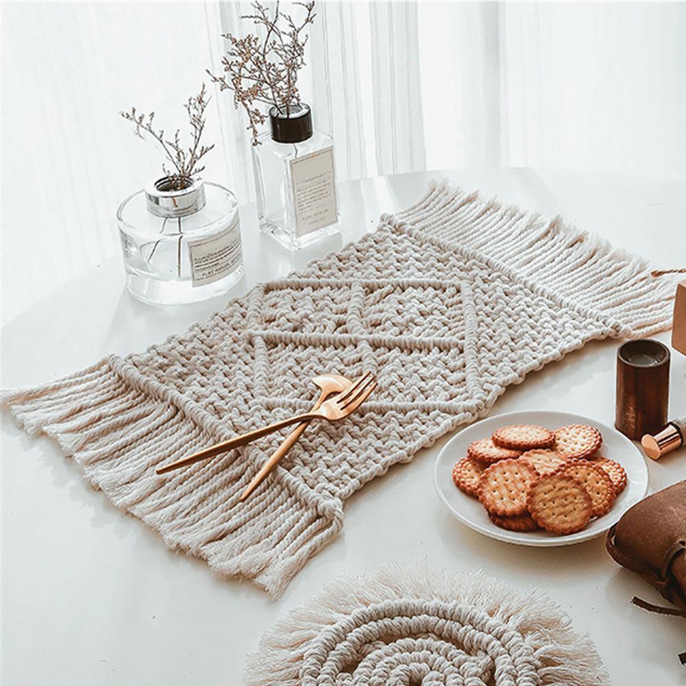 Nordic Macrame Coaster Bohemia Placemat Insulation Non-Slip Tablemat Handwoven Cotton Pad Home Kitchen Restaurant Decoration