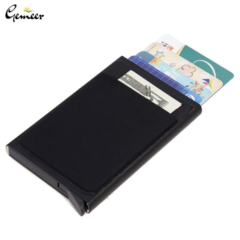 Алюминиевый кошелек Gemeer с эластичным кармашком для карт ID, держатель для Карт RFID, мини тонкий кошелек, автоматический всплывающий Чехол для карт