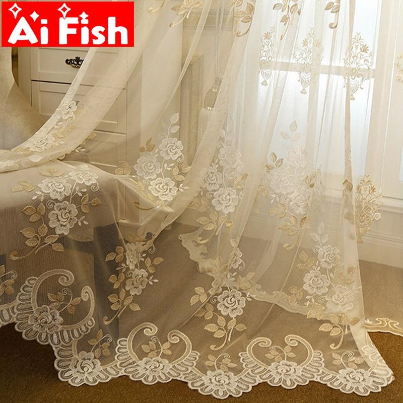 ستائر تول شفافة ، على الطراز الأوروبي ، بنمط زهور رعوية ، لغرفة المعيشة ، معالجة نافذة الدانتيل ، غرفة النوم ، حجاب #3