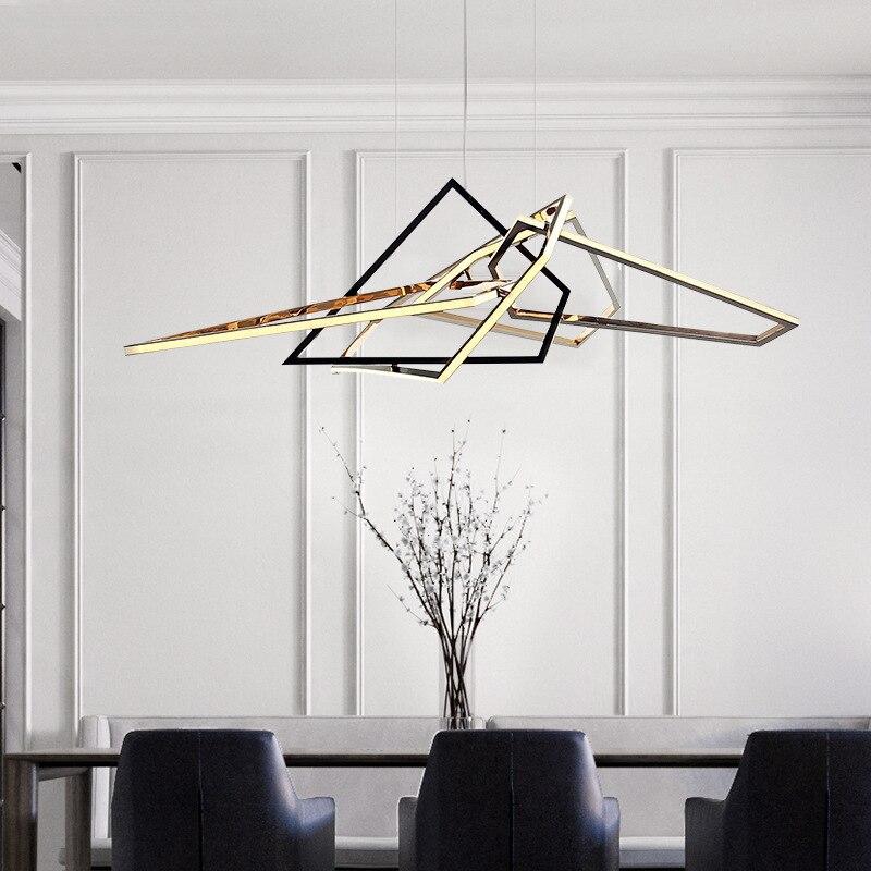 آرت ديكو ذهبي كروم فضي LED مصمم بريق تعليق الإنارة Lampen قلادة مصباح إضاءة متدلّي ضوء لغرفة الطعام