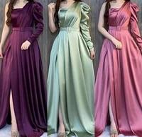 vintage long satin mermaid evening dresses with slit floor length zipper one shoulder abendkleider formal party gowns for women