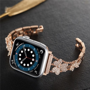 Luxury Diamond Bling Metal Strap for Apple Watch Band 42mm 44mm 40mm Crystal Stainless Replacement iWatch Series SE 6 5 4 3 2 1