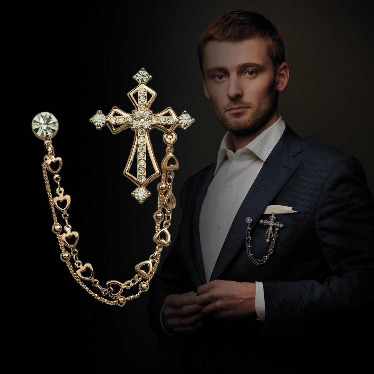 Broche cruzado de cristal de estilo británico de alta gama, de doble cadena Pin de solapa y broches, insignia para traje, accesorios para Cuello de camisa