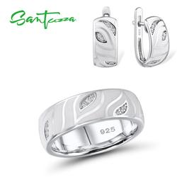 Santuzza 925 conjunto de jóias de prata para as mulheres folhas brancas cintilante cz conjunto de jóias brincos conjunto de jóias finas artesanal esmalte