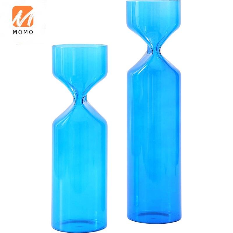 زهرية زرقاء الديكور الزجاج الشفاف المائية اناء للزهور الإبداعية غرفة المعيشة طاولة طعام الزينة