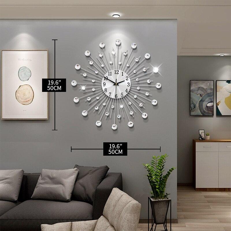 Gypsophile diamant mode horloge murale en fer forgé horloge Style européen créatif décoration horloge Vintage en métal Art horloge murale