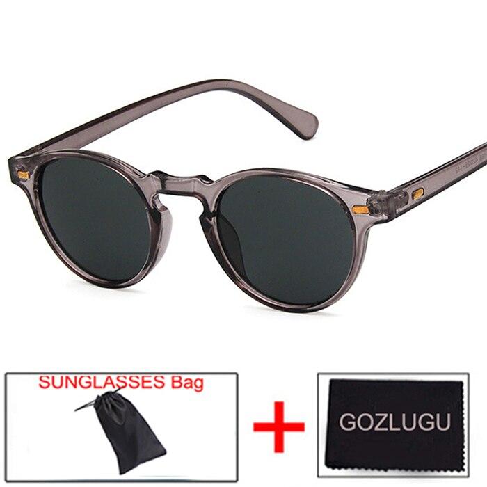 Gozlugu venda moda redonda lente transparente quadro óculos de sol gregory peck marca designer masculino e feminino óculos de sol