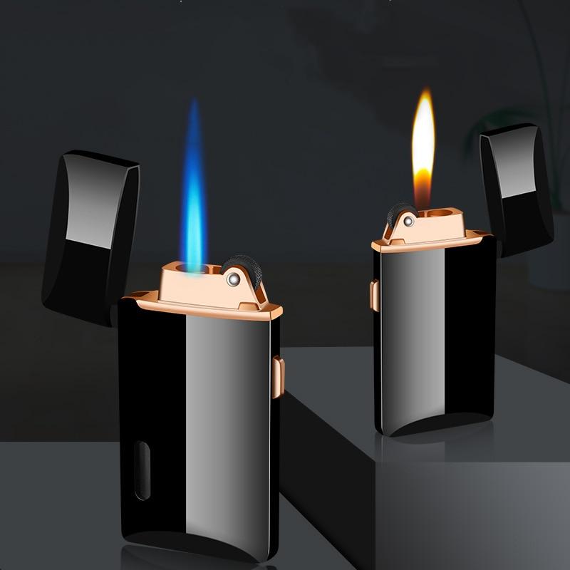 Jet Gas Lighter Two Flame Grinding Torch Turbo Flint Lighter Free Fire Butane Metal Windproof Cigarette Cigar Lighter Inflated enlarge