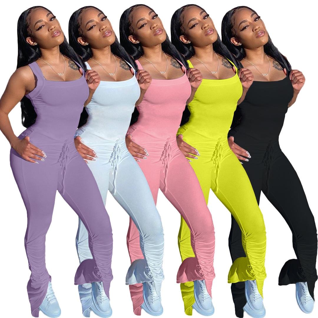 Женский однотонный комбинезон на бретельках, без рукавов, длинные расклешенные штаны, повседневный спортивный комбинезон, женские комбине...