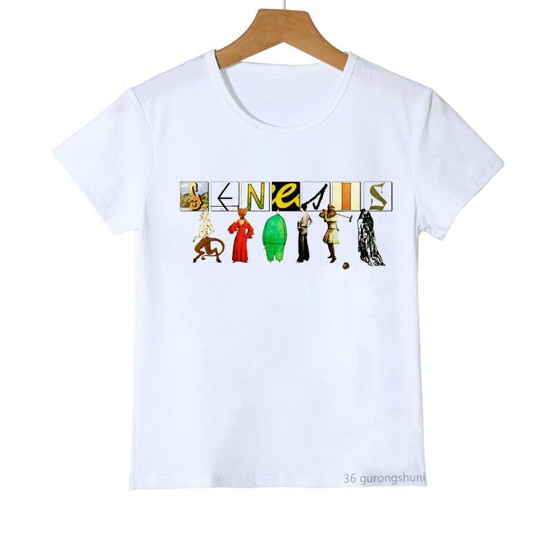 Футболки для мальчиков и девочек, стильные смешные футболки с графическим принтом группы Genesis, модные детские топы в стиле Харадзюку