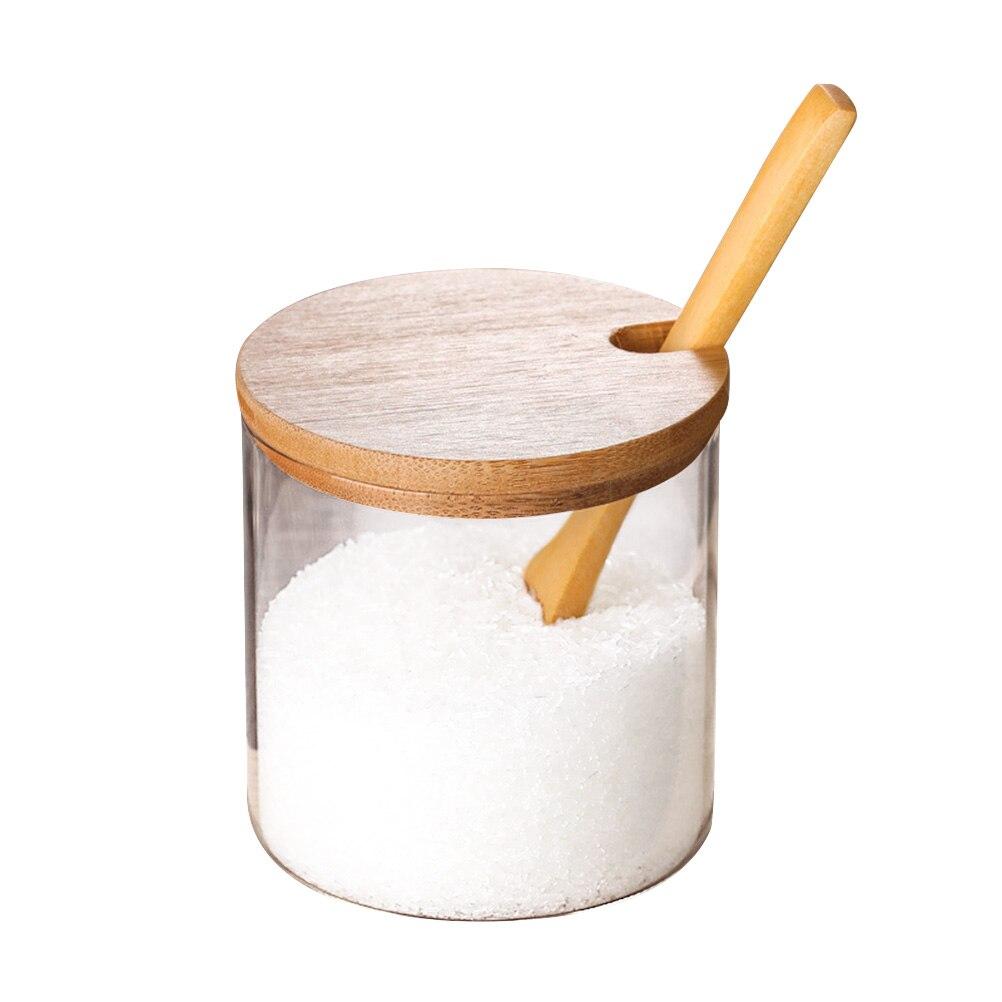 التوابل الجرار المطبخ موجزة واضح بهار الجرار تخزين الحاويات مع ملعقة خشبية غطاء من البامبو لخدمة القهوة السكر