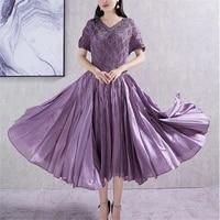 miyake pleated dress purple new summer 2021 fashion comfortable loose large size slim temperament large swing dress female