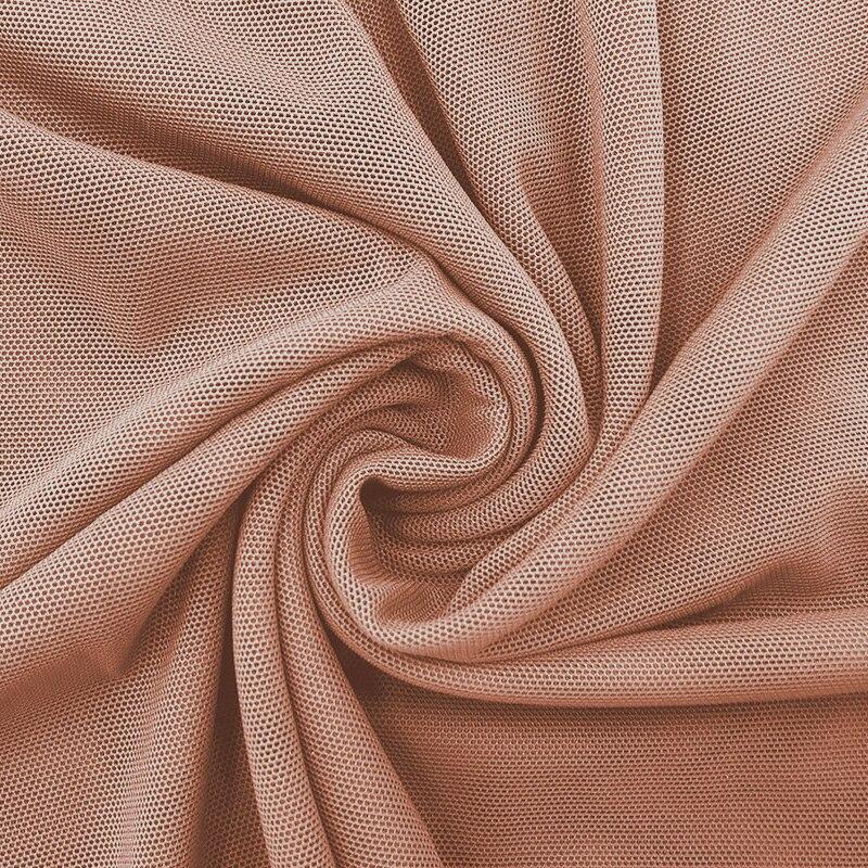 Tela de red de malla diy alta elástica 40D Nylon Spandex 4 vías stretch power decoración de la boda tul cálido arena velo