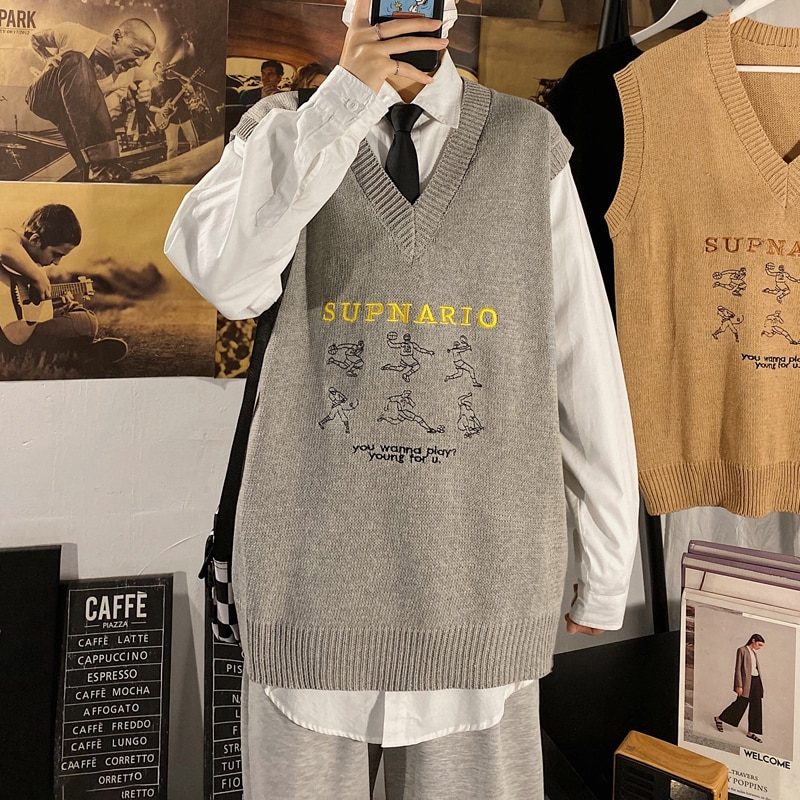 Autumn and Winter Hong Kong Ins Sleeveless Knitted Sweater Vest Men's Korean Style Trendy Casual Lov