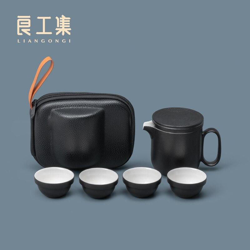 طقم شاي محمول طقم شاي للسفر صغير وعاء واحد أربعة أكواب السيراميك كوب سريع مكتب براد شاي صيني طقم طقم شاي الكونغ فو