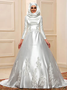 7274 O-neck three-quarter dropped A-line floor-length matte satin muslim wedding dresses/gowns appliques&beaded  free shipping
