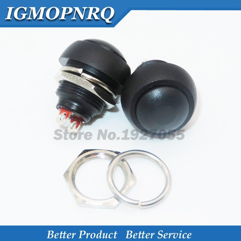5 pces preto 12mm PBS-33B interruptor de botão momentâneo impermeável novo