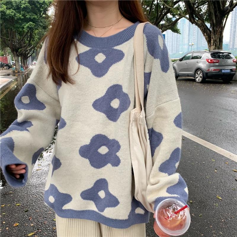 Women fashion Sweaters Winter Women Flower Sweaters enlarge