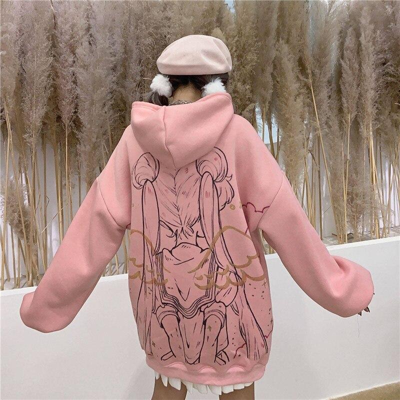 Kawaii sailor moon hoodie streetwear ulzzang dos desenhos animados camisolas pullovers oversize com capuz com capuz streetwear harajuku topos menina