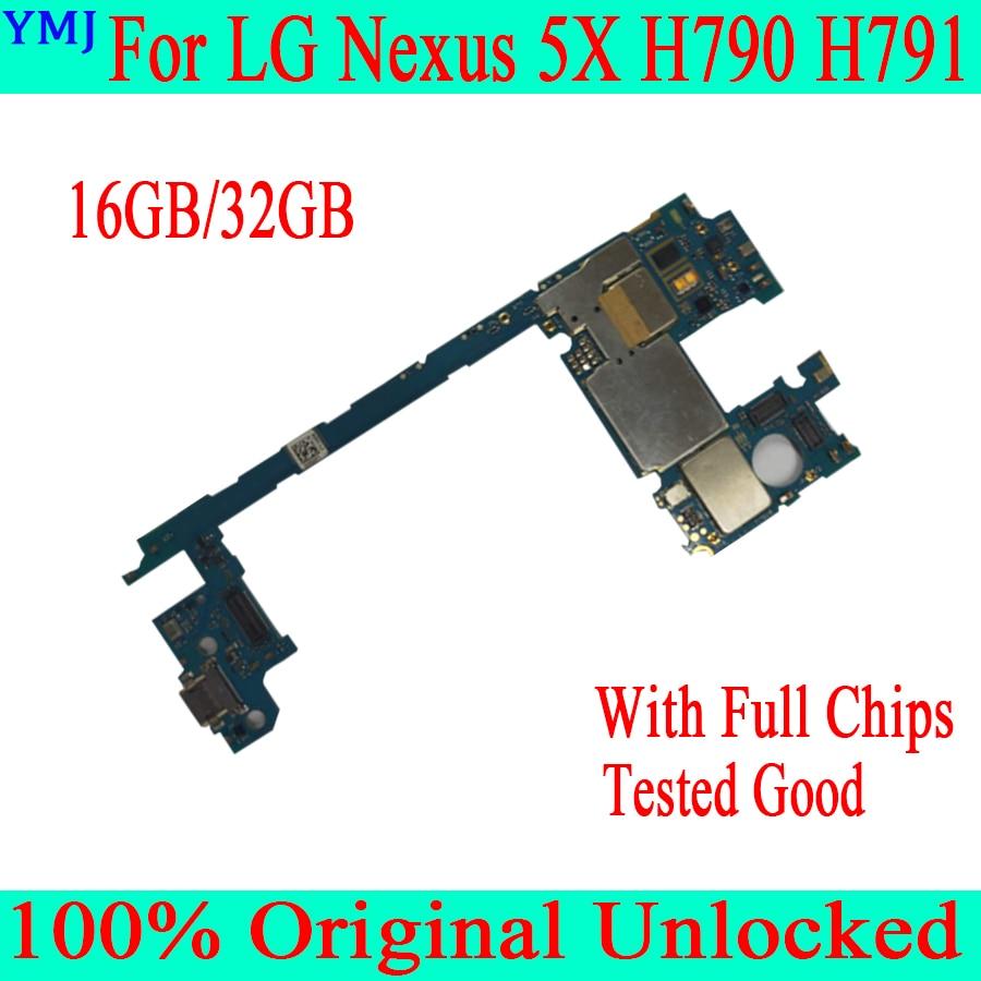 Prueba completo funcional Original placa madre para LG Google Nexus 5X H791 H79016GB/32GB lógica circuito placa cambiar placa base