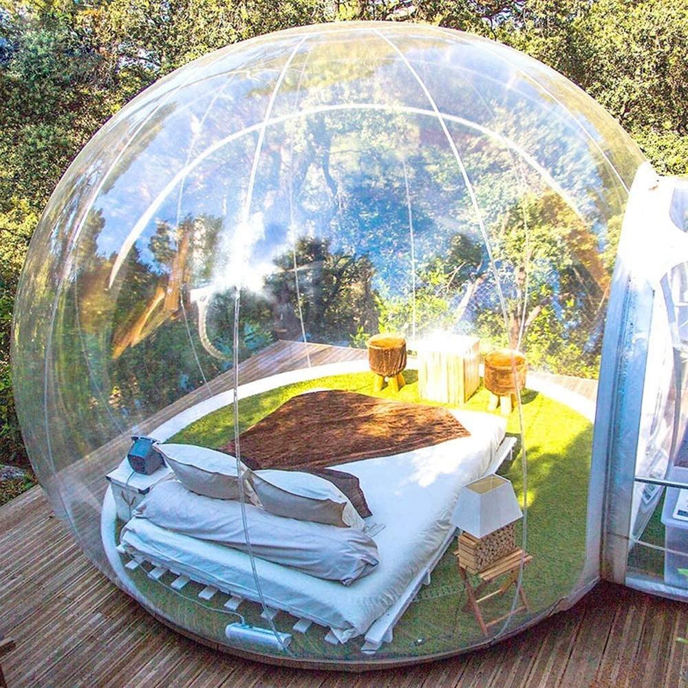 خيمة بيت فقاعات شفافة قابلة للنفخ عالية الجودة مع نفق مستقر للتخييم في الهواء الطلق خفيفة الوزن خيمة شفافة على هيئة قبّة