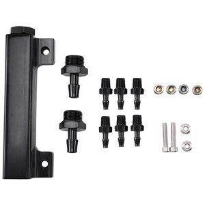 Aluminum Vacuum Manifold Kits 6 Port 1/8 NPT Turbo Wastegate Boost Block Intake Manifold Universal Modification (Black)