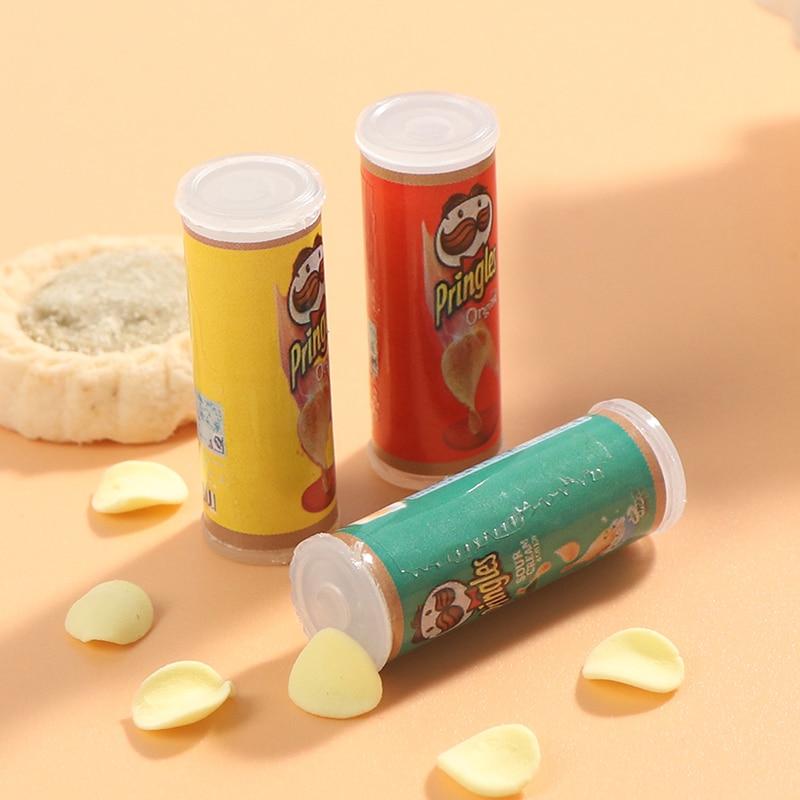 1 conjunto/3 pçs simulação batata chips garrafa casa de bonecas miniatura jogo cozinha comida pullip 1/6 boneca