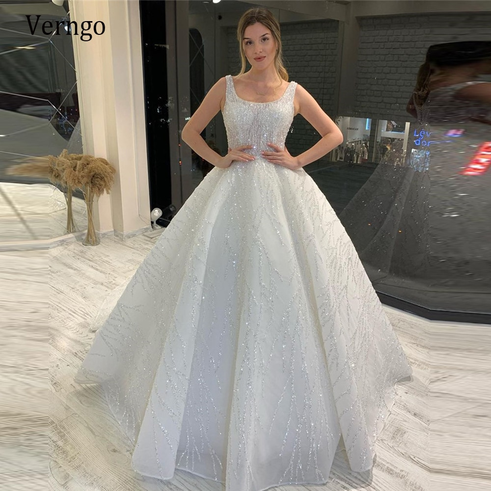 Verزهرية-فستان زفاف لامع A-Line 2021 ، رقبة مربعة لامعة ، أميرة لامعة ، تنورة مفتوحة منتفخة ، دانتيل من الخلف ، فساتين زفاف