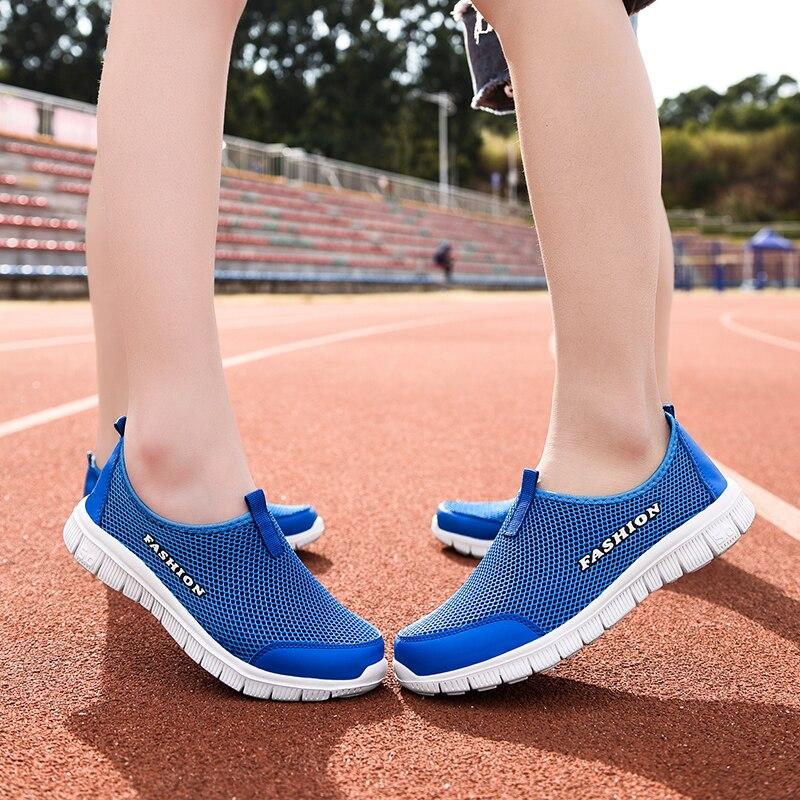 Novos amantes sapatos casuais das mulheres dos homens malha tênis unissex andando de condução calçado casal sapatos ao ar livre zapatillas deportivas
