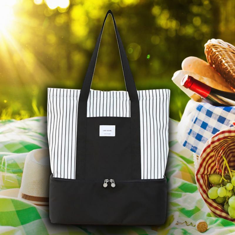 Listrado isolado saco de almoço compartimento duplo oxford ombro tote portátil refrigerador térmico moda alimentos bolsa armazenamento piquenique caixa
