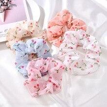 Summer Fashion Floral Scrunchies Hair Accessories for Women Girl Elastic Hair Ring Hair Tie Ponytail Holder Rubber Hair Band