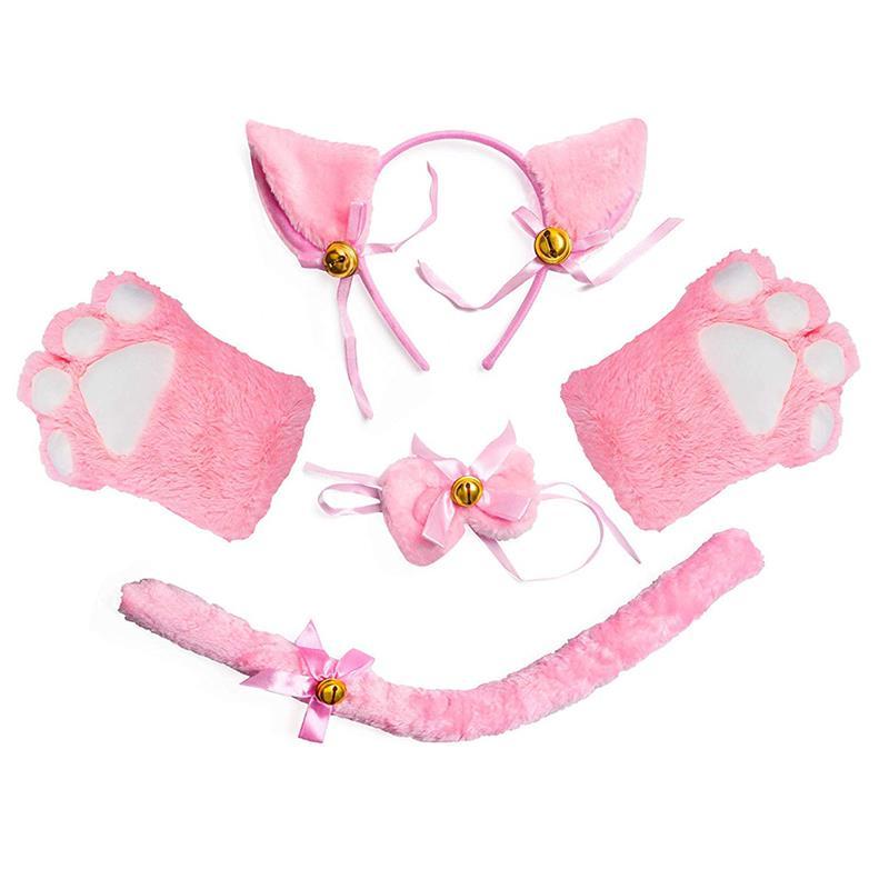 Cat Cosplay Costume Set Kitten Tail Ears Collar Paws Gloves Kit for Halloween Accessory Hairwear Hairband Ears Neko Fantasy Set