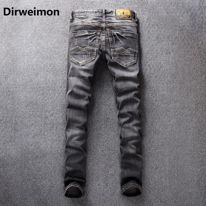 2020 alta calidad moda hombres Jeans Dsel marca Ripped Jeans hombres Patchwork Pantalones rectos Slim Fit desgastados Hole Jeans hombre