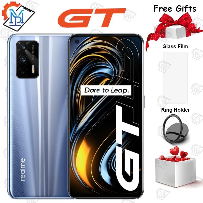 2021 оригинальный Realme GT 5G мобильный телефон 6,43 дюймов 120 Гц 8G + 128G Snapdragon 888 Octa Core Android 11 65W Быстрый Зарядное устройство смартфона