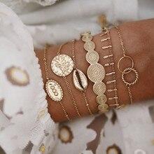 DIEZI 6 pièces/ensemble Vintage rond coquille fleur bracelets porte-bonheur bracelets bohème or chaîne Bracelet ensembles pour femmes dames bijoux
