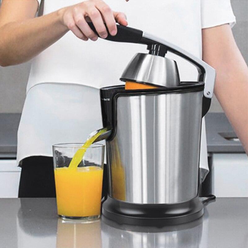 SANQ Acero inoxidable naranja 160W limón juego eléctrico exprimidores manija de fundición a presión hogar enchufe británico de baja potencia