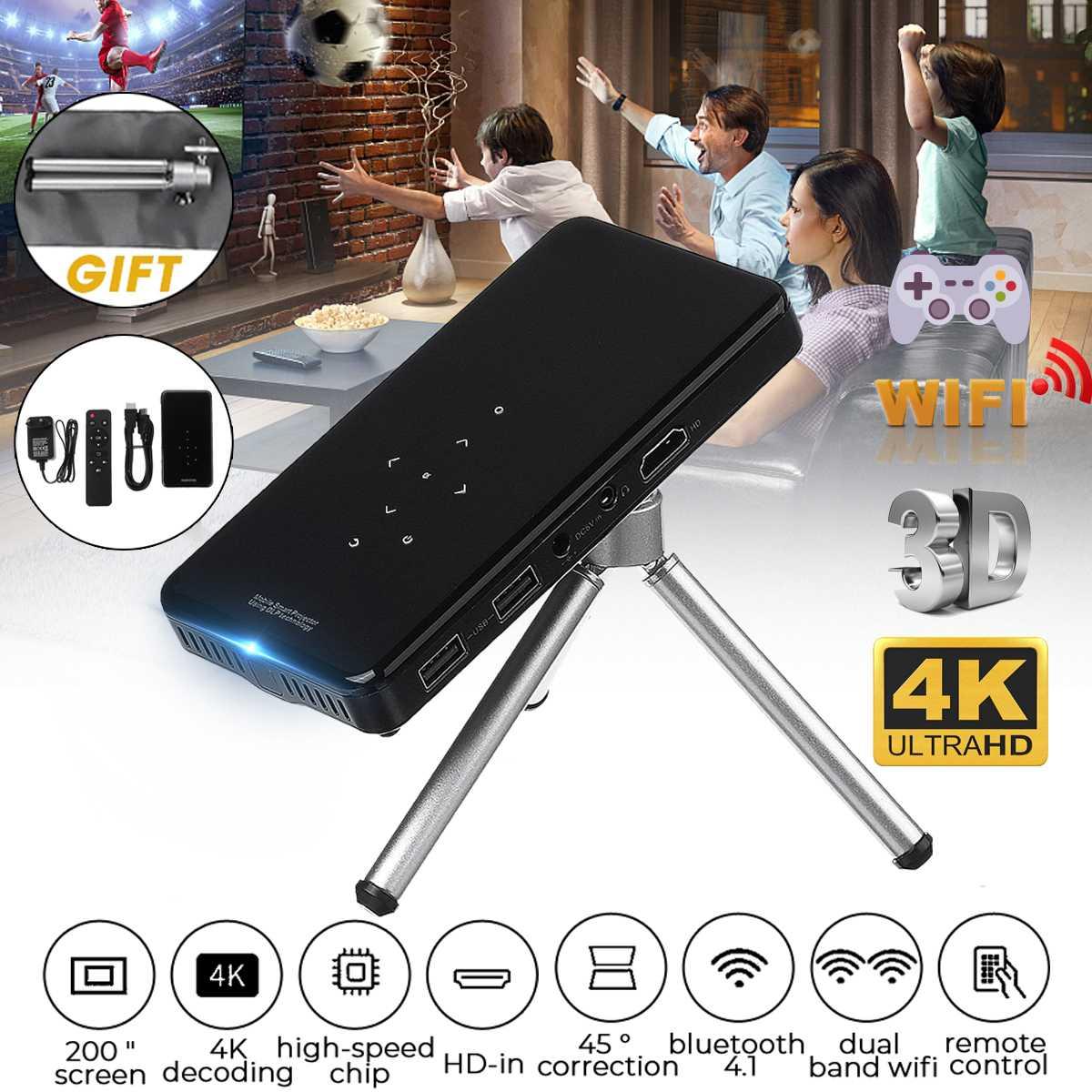Mini proyector bluetooth 4,1 4K, proyector portátil de bolsillo Wifi inteligente, proyector móvil LED DLP para cine en 3D de Smartphone