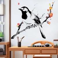 chinese style birds flowers wall stickers home office decor living room 3d wall art sticker teen bedroom wall decals wallpaper