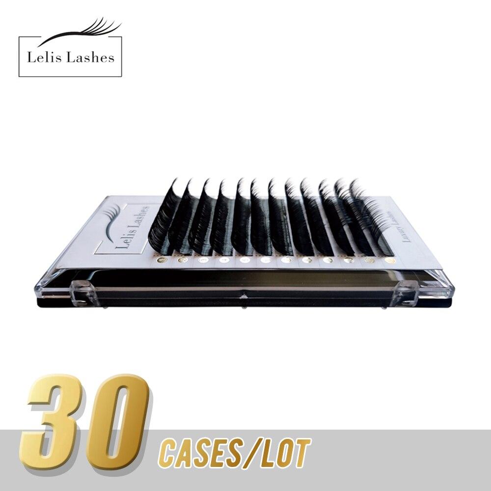 Lelisash مختلط طول رمش ملحقات 30 حافظة/مجموعة المنك قسط 8-16 مللي متر الرموش الصناعية