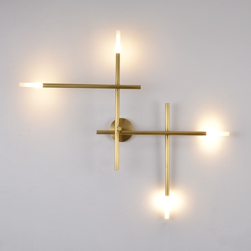 Nordice-luminaria de cristal vintage lámpara de pared del pasillo, dormitorio, hierro, madera,...