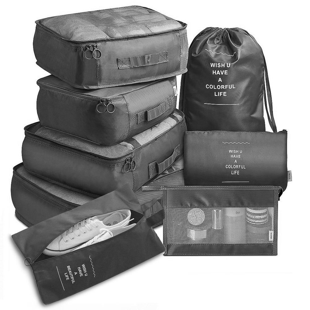 8pcs Set Travel Organizer Storage Bags Suitcase Packing Set Storage Cases Portable Luggage Organizer Clothes Shoe Tidy Pouch Bag