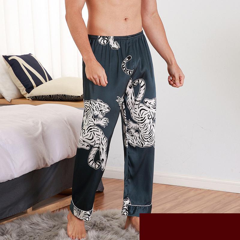 CEARPION Men Sleep Bottoms Satin Sleepwear Soft Nightgown Pants Elegant Crane Print Pajama Panties M