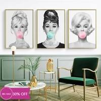 Toile de decoration de noel  affiches de peinture  celebre fille  bulle rose  tableau dart mural pour salon  decoration de maison