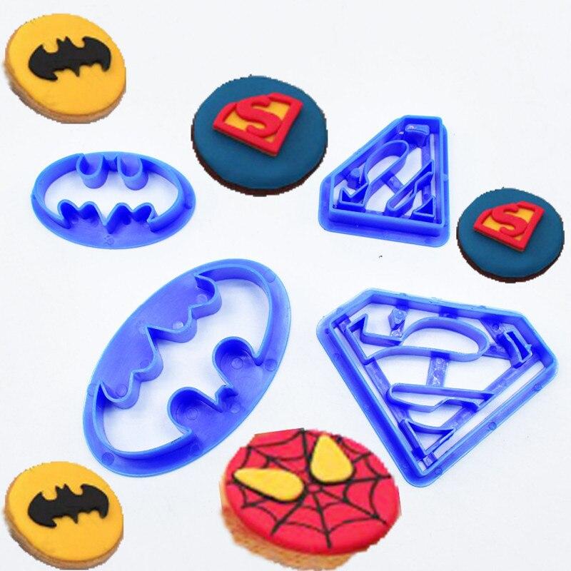 4 unids/set Batman y Superman Fondant pastel decoración de galletas de azúcar cortador para pastelería utensilios de decoración para hornear