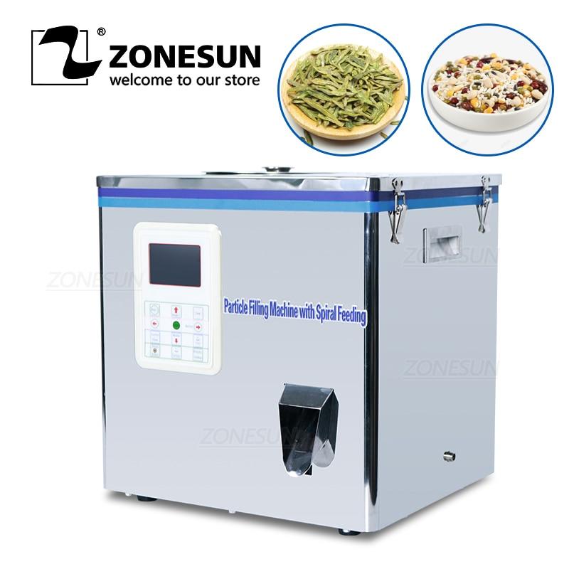 ZONESUN Tea Packaging Machine Sachet Filling Can Granule Medlar Automatic Weighing Powder Filler