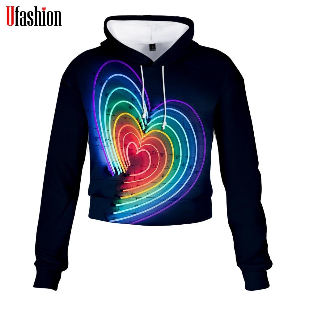LGBT Love Hoodie Sweatshirt High Waist Sexy Hoody 3D Full Sleeve Young Lady K Pop Style Fashion Pullovers Crop Tops